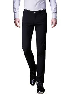 Mens Plaid Slim Fit Stretchy Dress Pants Flat Front Suit Pants at ... a2e30f695c4b