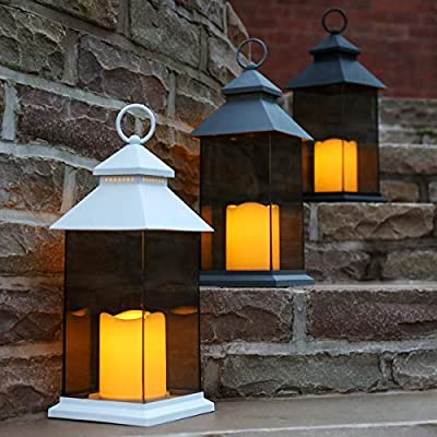 Smoked Glass Lantern - Battery Powered - Flickering LED Candle - Indoor & Outdoor