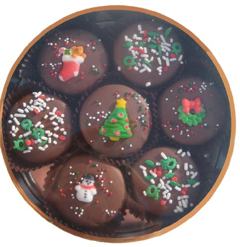 Chocolate Dipped Oreo Cookies decorated for Christmas 7 Oreo Assortment, Milk Chocolate Christmas Cookies