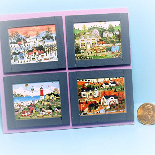 Dollhouse Set of 4 Folk Art Town Seasons Pictures in Frames KL2118 - Miniature Scene Supplies Your Fairy Garden - Doll House - Outdoor House Decor