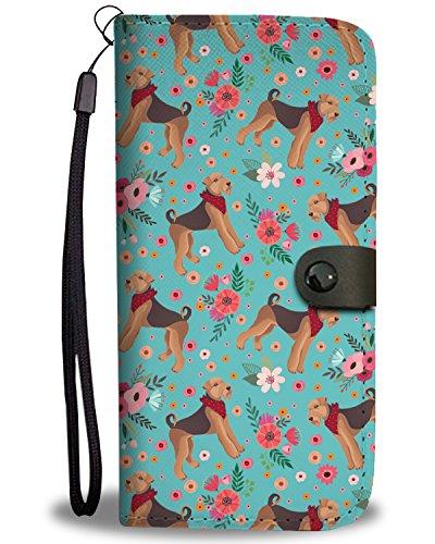 Airdale Terrier Flower Wallet Phone Case, Huawei P10+