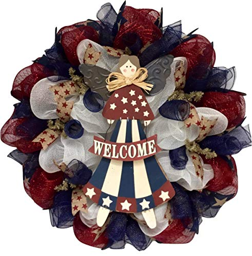 Americana Patriotic Angel Wreath Handmade Deco Mesh