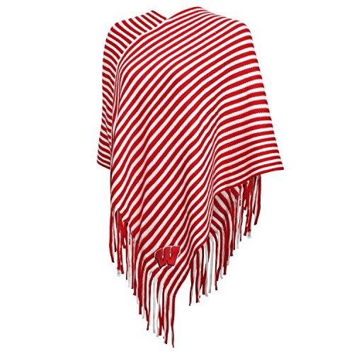 NCAA Wisconsin Badgers FeWomen's Campus Specialties Striped Team Poncho, Red/White, One Size
