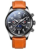 Mens Automatic Machine Stainless Steel Sapphire Waterproof Multifunction Brown Leather Watch