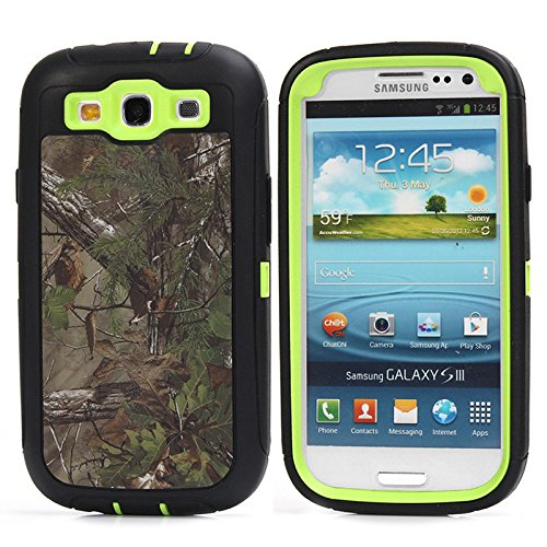 Galaxy S3 Case, S3 Case, Kecko(TM) Defender Bumper Natural Tree Camo Army Military Grade Shock Absorbent 3 in 1 Triple Layer High Impact Hybrid Combo Protective Case and Holster w/ - S3 Phone Galaxy Protector