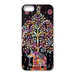 Qxhu Indian Elephant Hard Plastic Cover Case for Iphone5,5S