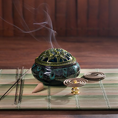 UINSOO Ceramic Incense Burner (For Sticks, Cones or Coils Incense) with Fireproof Cotton (Fambe sapphire blue)