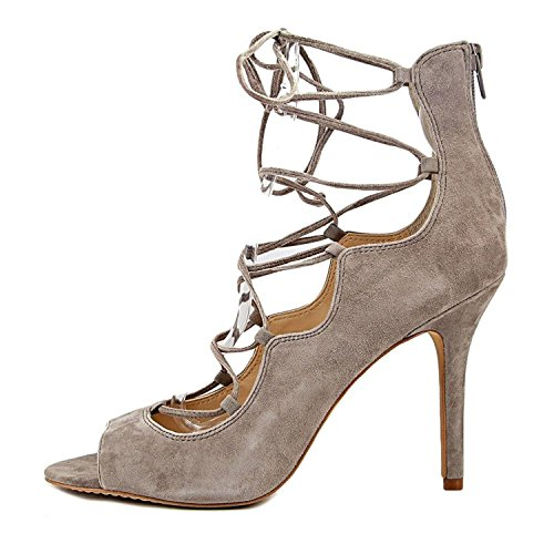 Vince Womens Sandria Suede Peep Toe Special Occasion, Stone Taupe, Size 10.0