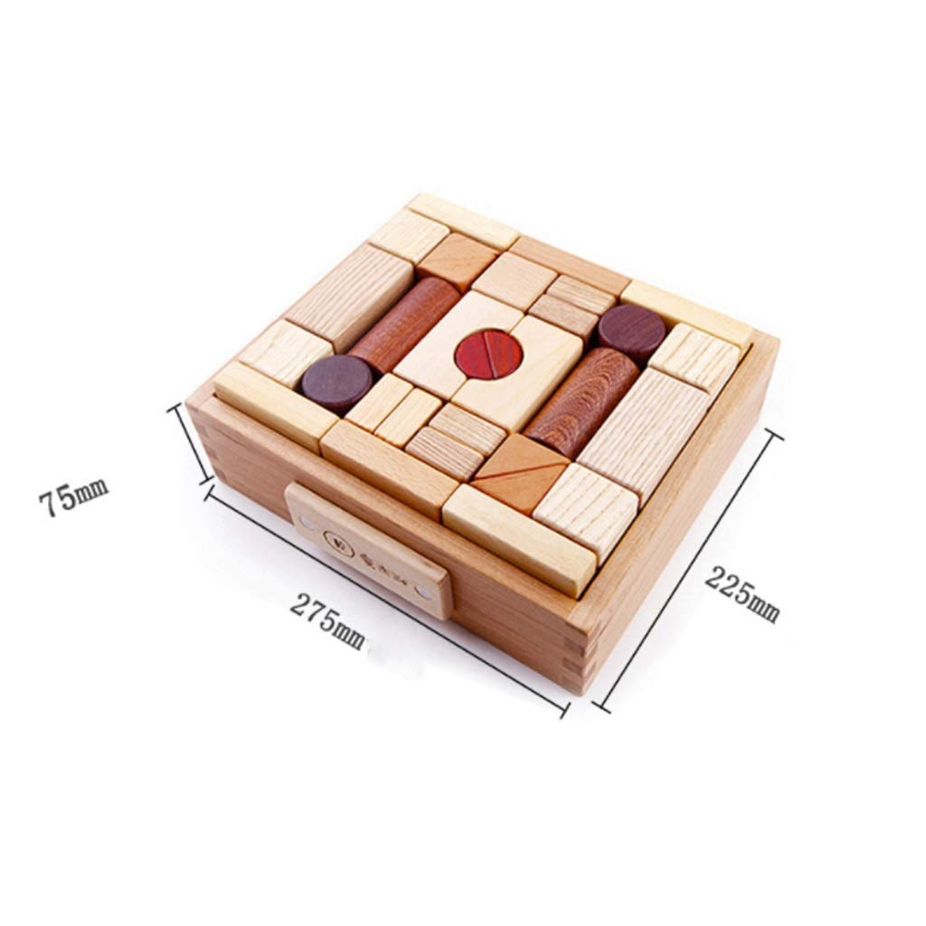 LS Building Block - Children's Birthday Gift Toys Large Particles Wooden Blocks Boys and Girls Early Education Enlightenment Toys 1-3-6 Years Old Puzzle Baby Infant Wood Blocks 33 (Size : B)