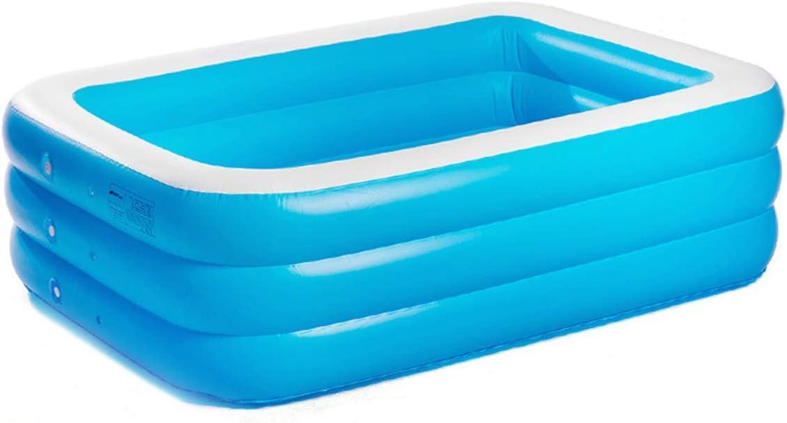 L@LILI Piscina Inflable Azul Rectangular, Piscina fácil del Sistema de BathKit del Balneario Plegable íntimo, 190 * 140 * 60cm,3