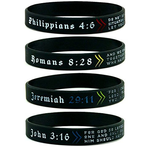 Christian Wristbands, Gift Pack - Religious Gifts for Teens Men Women - Set of 4 Bible Bracelets