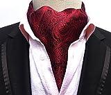 MENDENG Men Red Paisley Jacquard Woven 100% Silk Self Cravat Tie Formal Ascot