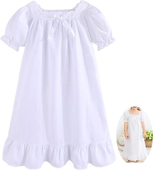 Kids Girls Nightdress Princess Sleepwear Cotton Lace Nightgown Pyjamas Clothes