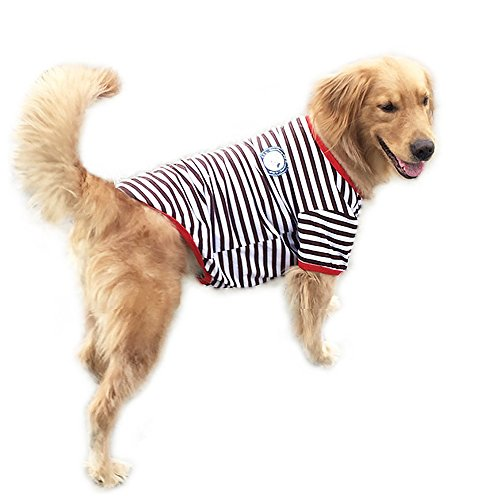 (SYSTOND Pet Dog Clothes Elastic Brown and White Stripes Cotton Vest T-Shirt Pet Supplies Clothes Apparel Outwear Costume (L))