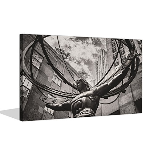- Sea Charm - Canvas Prints Wall Art Statue of Atlas in New York City's Fifth Avenue Vintage Canvas Pictures for Wall Home Decor,Giclee Artwork Stretched and Framed Ready to Hang,-24 X 36