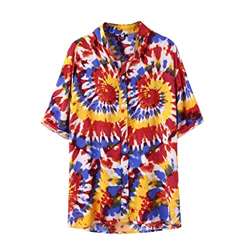 WYTong Fashion Trend Casual Sports Top Printed Stand Collar Colorful Stripe Short Sleeve Loose Shirt(Yellow,L)