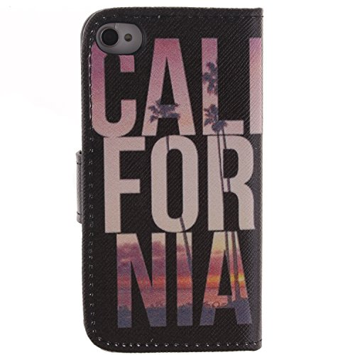 MOONCASE iPhone 4 Case Magnetverschluss [Painted Patterns] Leder Tasche Flip Case Cover Schutzhülle Etui Hülle Schale für iPhone 4 4S -LK24