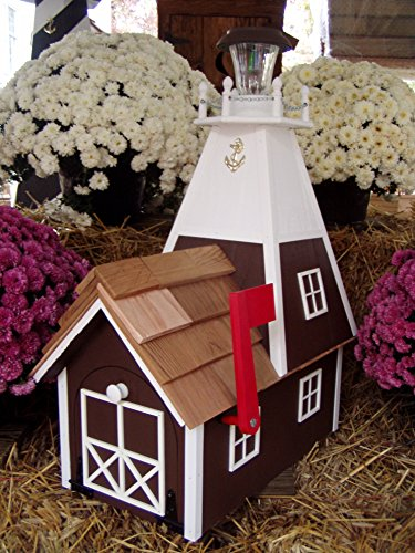 Amish Handmade Handcrafted Rural Mailbox Solar Lighthouse Red & White
