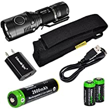 Nitecore MH20 CREE XM-L2 U2 LED 1000 Lumen USB Rechargeable Flashlight, EdisonBright 18650 rechargeable Li-ion battery, USB charging cable, Holster and EdisonBright USB charger bundle