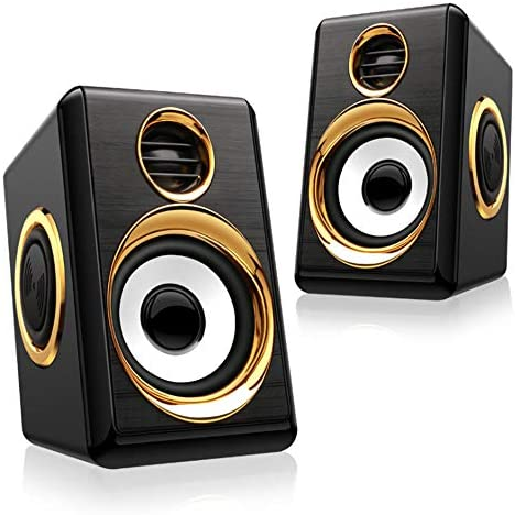 Boomer VIVI Laptop Audio system, USB Powerd Wired Speaker 5Wx2, Stereo 2.0 Deep Bass in Small Physique, 3.5mm Aux Multimedia Audio system, PC Laptop computer Desktop Audio system for Residence Workplace (Black and Gold)