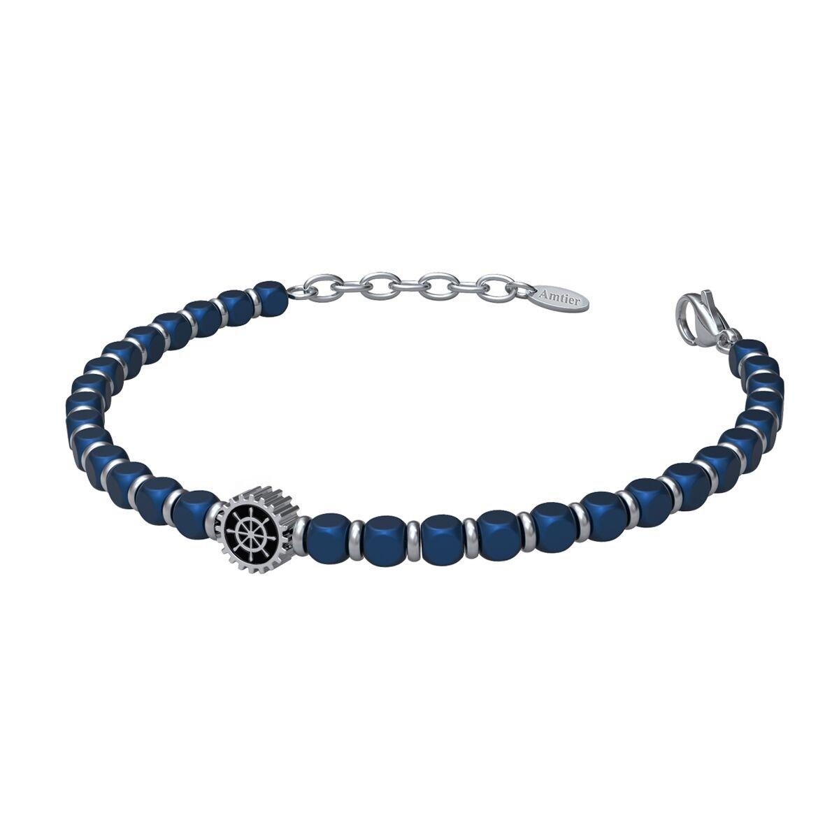 Amtier Unisexe Bracelet Hommes Bleu DIY Perlé Acier Inoxydable Chaîne Ajustable 7.5-8.5 Pouces Boîte-Cadeau Marque CMP-2017-069