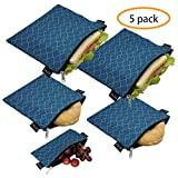 Reusable Sandwich Bags Snack Bags - Set of 5 Pack, Dishwasher Safe Lunch