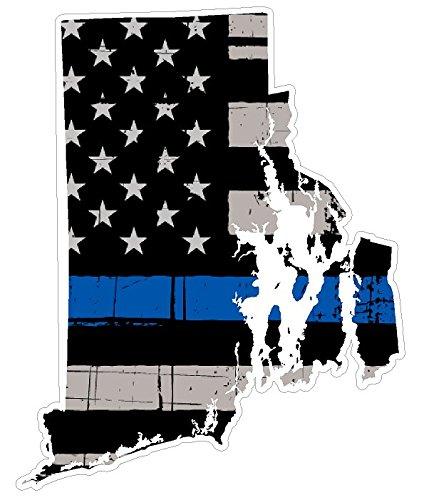 (Rhode Island State (U40) Thin Blue Line Vinyl Yeti Tumbler Decal Sticker Laptop/Netbook)