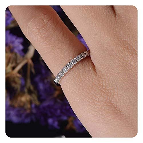 dazzlingjewelrycollection 1ct Round Cut White Diamond Half Eternity Women Wedding Ring Band .925 Sterling Silver