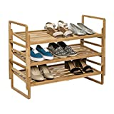 Modular Storage 3-Tier Nesting Bamboo Shoe Rack Organizer