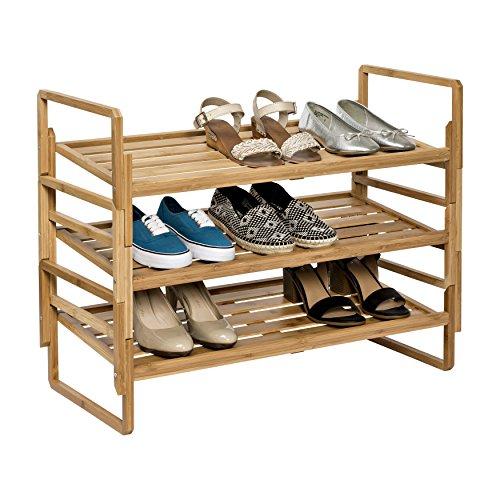 Modular Storage 3-Tier Nesting Bamboo Shoe Rack Organizer by Honey* Can Do