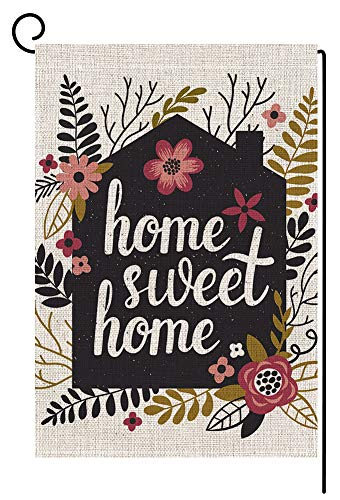 BLKWHT Home Sweet Home Garden Flag Vertical Double Sided Spring Summer Yard Outdoor Decorative 12.5 x 18 Inch - Monogram Holiday Wreath Garden
