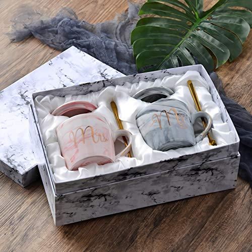 JOEJISN Mr and Mrs Coffee Mugs Set with Golden Spoon Nordic Style Mugs Retro Royal Tea Mug Top-quality Morning Mug Milk Mug for Wedding Valentine Gifts - Ceramic Marble 12.8 oz Comes in a Gift Box ()