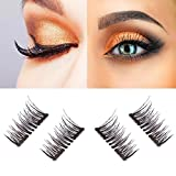 New Dual Magnetic False Eyelashes - 1 Pairs (4 Pieces) Ultra Thin 3D Fiber Reusable Best Fake Lashes Extension for Natural, Perfect for Deep Set Eyes & Round Eyes