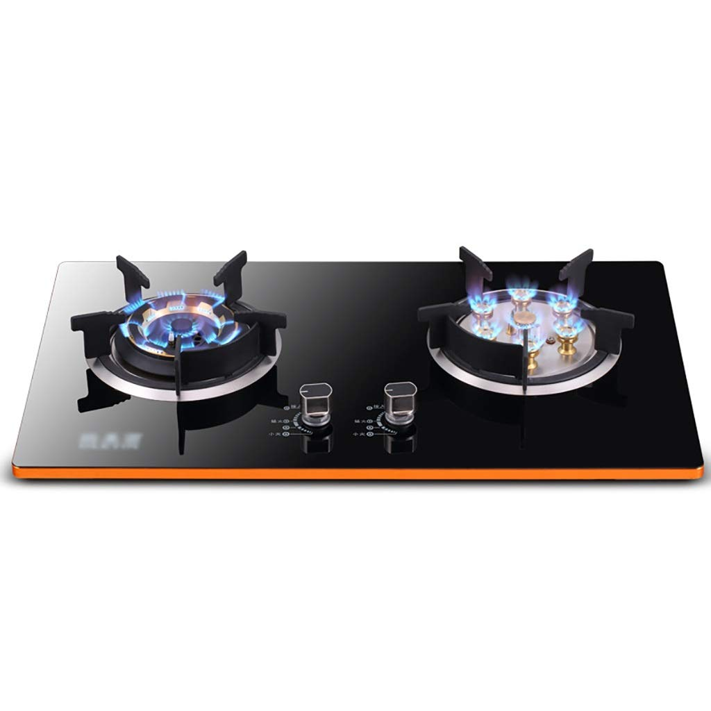 LQ-Stoves Gas Cooktops, Kitchen Energy-Saving Tempered Glass 2 Burner cooktop, Built-in, cooktop Dual-use Natural Gas Cooktops by LQ-Stoves