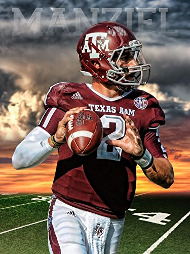Texas A&M Aggies Johnny Manziel Sunset Football Poster Authentic Team Spirit Store Product