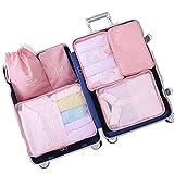 Belsmi 6 Set Packing Cubes - Waterproof Compression Bag Travel Luggage Organizer (Series B - Pink)