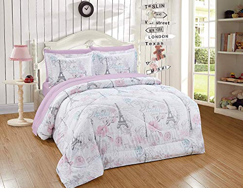 Luxury Home Collection Kids/Teens/Girls 7 Piece Full Size Comforter Bedding Set/Bed in A Bag with Sheets Floral Paris Eiffel Tower Flowers White Pink Grey Blue