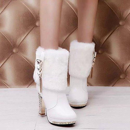 Strass Invernale Donna Con Tacco Alto In Pelliccia Sintetica Bininbox Bianco