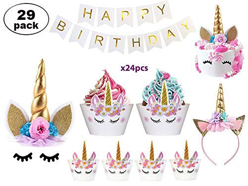 Liskerd Unicorn Cake Topper - Unicorn Party Supplies - Unicorn Cake Decorations - Unicorn Cake Topper Eyelashes, Headband, Cupcake Wrappers, Banner- Unicorn Birthday Decoration - 29 Pack