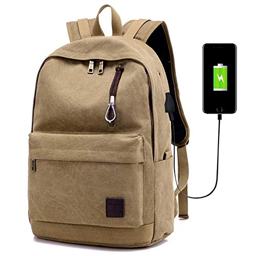 Amazon.com: Canvas Laptop Backpack for Women & Men, Vintage Casual Style School College Bookbag Business Bags Travel Daypack, Fits Up to 15.6 Inch Laptop ...