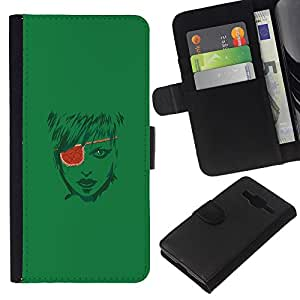 KLONGSHOP // Tirón de la caja Cartera de cuero con ranuras para tarjetas - Pirate Girl - Samsung Galaxy Core Prime //