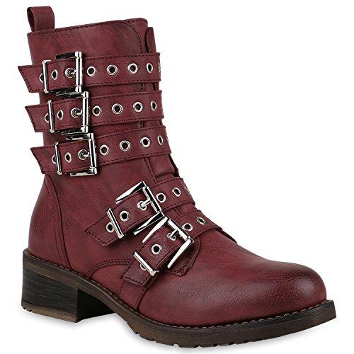 Damen Stiefeletten Lack Worker Boots Schnürstiefel Zipper Flandell Dunkelrot Schnalle