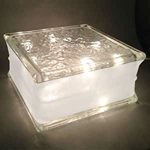 "Glass Block 8""x 8""x 4"" IceScapes Pattern with 4"" White Border - Clear Christmas Lights"