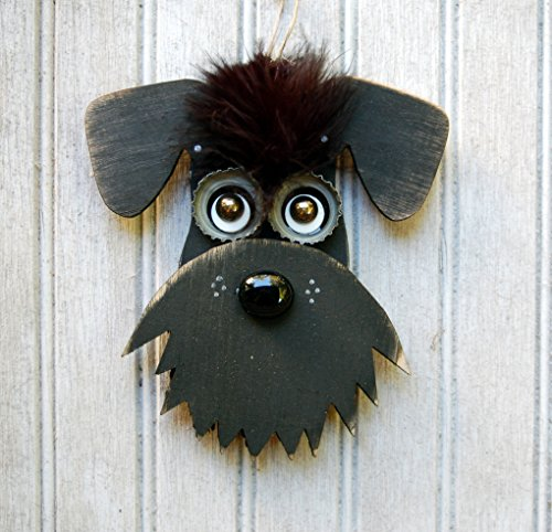 Schnauzer Dog Ornament, Recycled Hand Made Ornament Black Schnauzer dog Reclaimed Wood