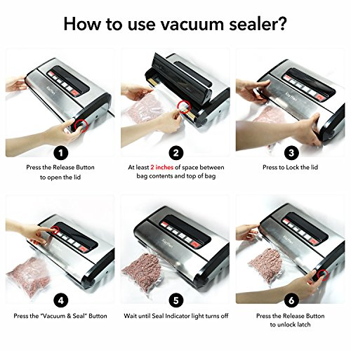 Kiartten Vacuum Sealer, A Fresh Food Locker for Your Kitchen. Keeps Food Fresh Up To 5X Longer. (Stainless Steel) by Spreaze (Image #4)'