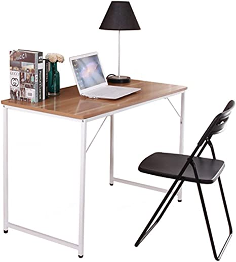 Homesailing Small Size Computer Laptop Desk Modern Home Office Table I  Shape for Corner Small Space Writing Study Desk Workstation Red Maple