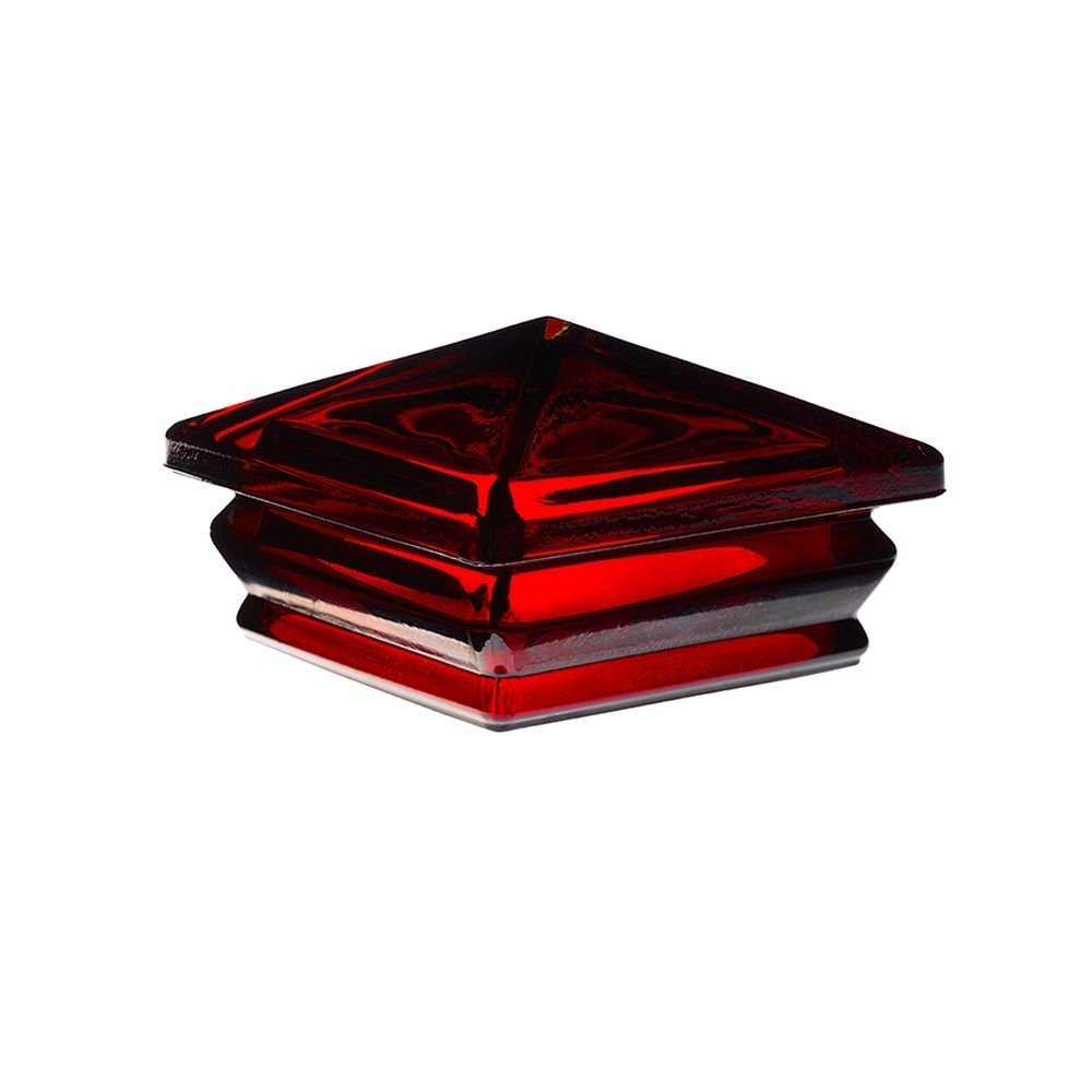 Woodway Glass Post Cap 6 x 6 – Outdoor Pyramid Post Cap for Garden, Deck and Patio, Red, 8 Pack