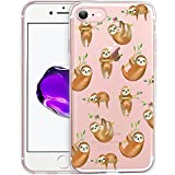 Unov Case Clear with Design Embossed Pattern TPU Soft Bumper Shock Absorption Slim Protective Cover for iPhone 8 iPhone 7 4.7 Inch(Hanging Sloth)