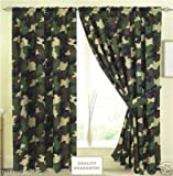 Army Camouflage 66x72' Curtains With Tiebacks Brand New Curtain Set