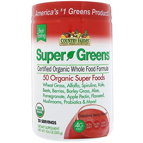 Country Farms Super Green Drink, Berry Flavor, 9.88 Ounce (Pack of 2) For Sale